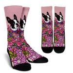 Illustrated Boston Terrier Flowers Art Printed Crew Socks