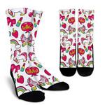 White Girly Unicorn Pattern Print Unisex Crew Socks
