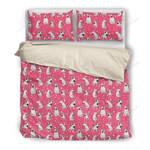 Bull Terrier Pink Dots Printed Bedding Set Bedroom Decor