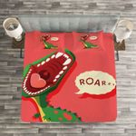 Cute Dinosaurs Roar Red Background Bedding Set Bedroom Decor