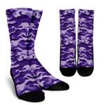 Purple Camouflage Print Unisex Crew Socks