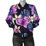 Purple Orchid Pattern 3D Printed Unisex Jacket