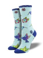 Hummingbird Blossom, Laurel Burch (Blue) Women's Men's Crew Socks