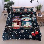 Christmas Owl Snowflake And Glove Bedding Set Bedroom Decor