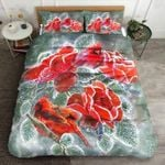 Cardinals Snow Winter Printed Bedding Set Bedroom Decor