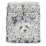 Panda Flower Pattern Printed Bedding Set Bedroom Decor