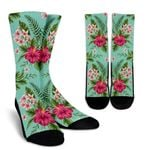 Hibiscus Plumeria Flowers Pattern Print Unisex Crew Socks