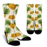 Beige Zig Zag Pineapple Pattern Print Unisex Crew Socks