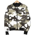 Brown And White Camouflage  3D Printed Unisex Jacket