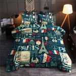 Paris Map Eiffel Tower Printed Bedding Set Bedroom Decor