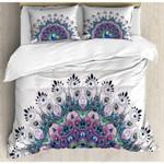 Peacock Texture White Bedding Set Bedroom Decor