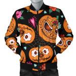 Pumpkin Flowers Spiderweb Halloween Theme Pattern 3D Printed Unisex Jacket