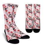 Girl Power Punk Pink Pattern Printed Crew Socks