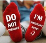 Do Not Disturb I'm Watching Rugby Socks - Red Comfortable Cute Funny Unique Unisex Socks
