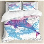 Dolphin Texture Printed Bedding Set Bedroom Decor