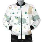 Cute Rhino Pattern Cactus 3D Printed Unisex Jacket
