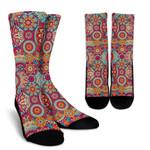 Retro Bohemian Mandala Pattern Print Unisex Crew Socks