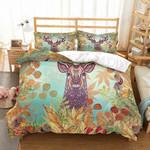 Deer Leaf And Flower Printed Bedding Set Bedroom Decor
