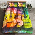 Colorful Retro Guitars Printed Bedding Set Bedroom Decor