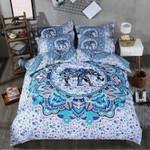 Elephant Mandala Blue Watercolor Bedding Set Bedroom Decor