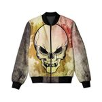 Water Color Skull Face 3D Printed Unisex Jacket