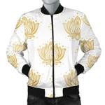 Gold Ornamental Lotue Waterlily Symbol Pattern 3D Printed Unisex Jacket