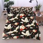 Flying Crane With Flower Pattern Bedding Set Bedroom Decor