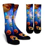 Solar System Discover Space Printed Crew Socks