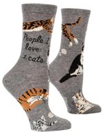 People I Love Cats Grey Printed Crew Socks