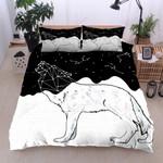 Wolf Astrology Black And White Geometric  Bedding Set Bedroom Decor