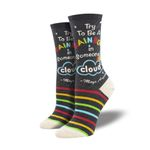 Try To Be A Rainbow Printed Crew Socks