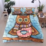 Owl Coffee Pattern Printed Bedding Set Bedroom Decor
