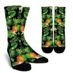 Black Hawaiian Pineapple Pattern Print Unisex Crew Socks