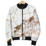 White Gold Grunge Marble  3D Printed Unisex Jacket