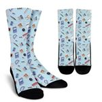 Teaching Education Book Pen And All Things Printed Crew Socks