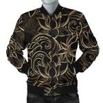 Luxurious Gold Lotus Waterlily Black Background 3D Printed Unisex Jacket