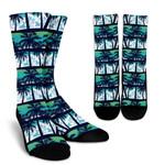 Blue Hibiscus Palm Tree Pattern Print Unisex Crew Socks