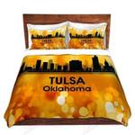 Tulsa Oklahoma Bokeh Printed Bedding Set Bedroom Decor