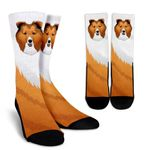 Real Sheltie White And Brown  Printed Crew Socks