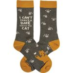I Can't Have A Date With My Cat Printed Crew Socks