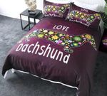 Love Dachshund Flower Printed Bedding Set Bedroom Decor