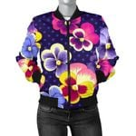 Pansy Pattern Dot 3D Printed Unisex Jacket
