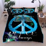 Blue Peace Sign Always Dragonfly Printed Bedding Set Bedroom Decor