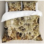 Vintage City  Printed Bedding Set Bedroom Decor