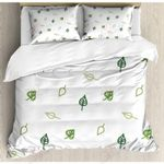 Small Leaves White Background Printed Bedding Set Bedroom Decor