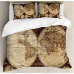 Vintage World Map Printed Bedding Set Bedroom Decor