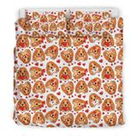 Cute Dog Face And Heart Dots Bedding Set Bedroom Decor