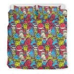 Multi Colorful Monster Cartoon Face Bedding Set Bedroom Decor