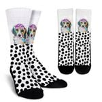 Collage Pup Beagle Black Dots  Printed Crew Socks