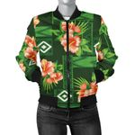 Hibiscus Pattern Green 3D Printed Unisex Jacket